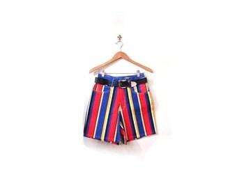 BTS SALE Vintage 90s Vertical Striped High Waist Hip Hip Denim Shorts women s m