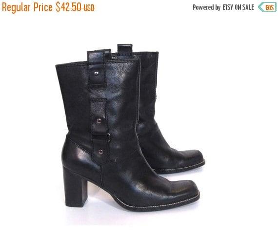 BTS SALE Vintage 90s BOHO Biker Chic Black Leather High Heeled Ankle Boots womens 7
