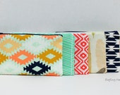 BagEnvy Handbags - Zippered Clutch / Pouch - Make Up Bag -  Choose Your Fabric - Arrowheads - Feathers - Aztec