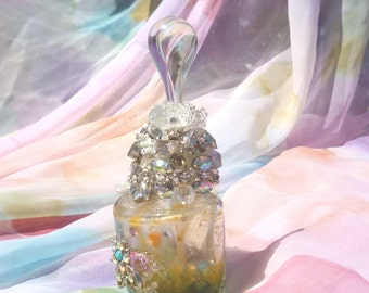Spell Bottle, Success Spell, Rhinestone Decor, Altered Bottle by mystic2awesome