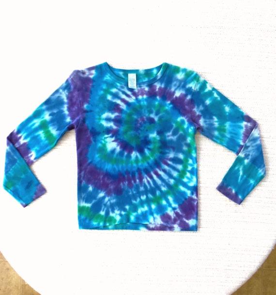 Girls' Long-Sleeve Tie-dye T-shirt, Sz. 14, blue green purple