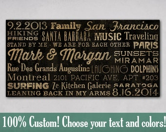 Custom - MADE To ORDER Typographic Wall Art Gallery Wrapped Canvas SIGNED 24X36x1.5 inches Wedding Anniversary Gift