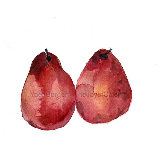 Kitchen art Red Pears art Print, watercolor painting, garnet red, still life, minimalist art, country home, farmer market, pears print