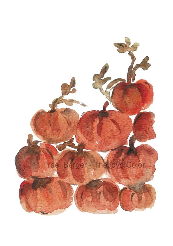Pumpkins Art print, Pumpkins watercolor print  ,Pumpkins heap at, orange rust, halloween art, thanks giving, still life, retro style