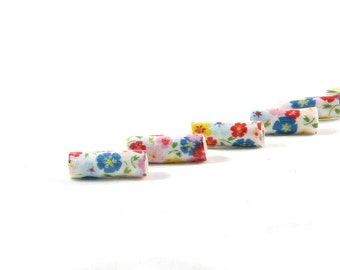 Handmade Fabric Beads, Lightweight Textile Fabric Bugle Beads, Big Hole, Large Hole, Multicolored Floral Print Blue Red Pink Yellow Flowers
