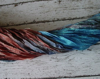 New - Hand Dyed BABBLING BROOK glitters ribbon, 5 yards
