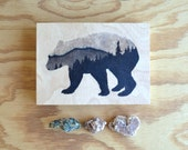 contemporary rustic art: spirit bear. ooak panel