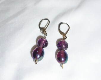 purple glass bead dangle earrings