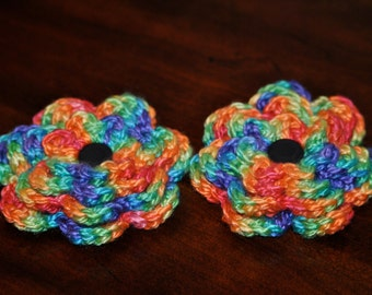 Hand made crocheted Rainbow Flower Barrette - 1 barrette