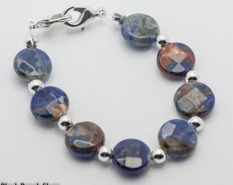 Blue Sodalite Faceted Coin Stretchy Interchangeable Watch Band - M, XXL - WB00311