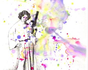 Star Wars Art Princess Leia Art Print From Original Watercolor Painting - 8 x 10 in. Star Wars Art Print