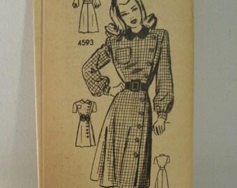Vintage 1940's Anne Adams 4593 Sewing Pattern - Junior Size 11
