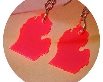 Michigan Earrings, Neon Earrings Pink Red Acrylic Lasercut State Jewelry