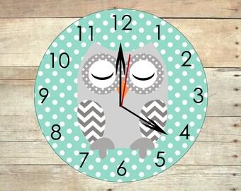 owl clock wood clock owl nursery decor owl decor children's clock kids owl clock gray and aqua room chevron nursery wooden owl owl wall art