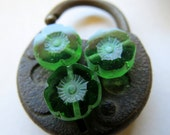 NEW Picasso Green Bloomers . CZECH Glass Flower Beads . 12 mm  (8 beads)