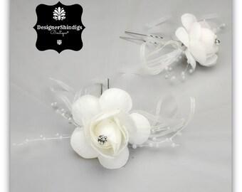 White Rose Rhinestone Flower Hair Pins 2 piece Bobby Pins