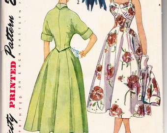 Vintage 1950 Simplicity 3207 Sewing Pattern Misses' One-Piece Dress and Jacket Size 15 Bust 33