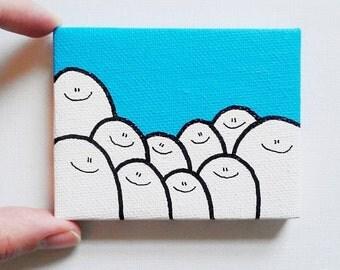 Acrylic Painting On Canvas - Original - Tiny Miniature Painting - Sky Blue Cheps