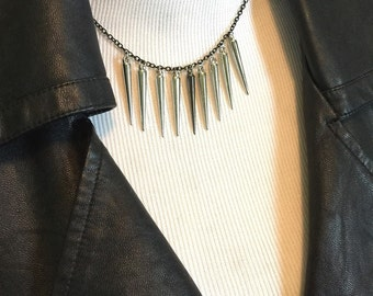 Silver Spike Choker ~ Gunmetal Necklace