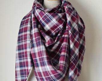 Blanket Scarf - Oversized Scarf - Plaid Blanket Scarf - Tartan Flannel Scarf