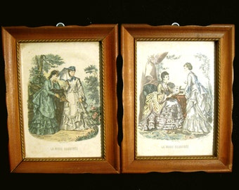 Pair of 1800s Fashion Prints La Mode Illustree Framed