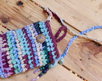 Boho Gypsy Hand Crochetd Purse with Wooden Beads