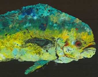 "Gyotaku Fish Rubbing - ""Midnight Dolphin"" - Limited Edition Print (37 x 13.5)"