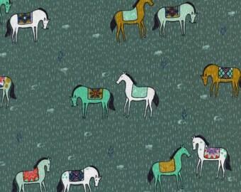 SALE - Cotton + Steel - Honeymoon Collection - Horseback in Green