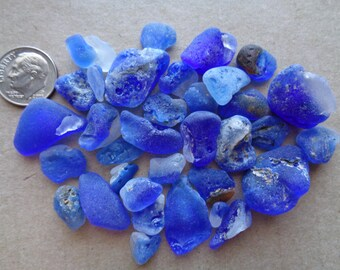 Genuine Pure Beach Sea Glass Royal Cobalt Blue lava bonfire melted Surf Tumbled Ocean Frosted small lot V10