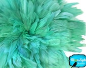 Rooster Feathers, 4 Inch Strip - MINT GREEN Strung Rooster Schlappen Feathers : 3963