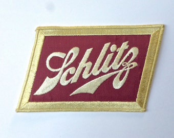 Vintage Schlitz Beer Patch, Beer Advertising, Hipster Patch, Large Schlitz Patch, Schlitz Uniform Back Patch