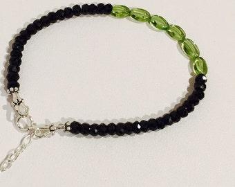 Black Spinel Bracelet, Peridot Bracelet, Unisex Bracelet, Gemstone Bracelet, Minimalist Bracelet, Stacking  Bracelet, August Birthstone