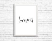 Bonjour Black Watercolor Calligraphy Printable