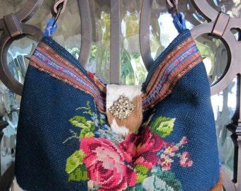 SOLD on LAYAWAY....Vintage Roses Needlepoint Handbag, Velvet Chenille, Cowhide, Western, Royal Blue, Navy