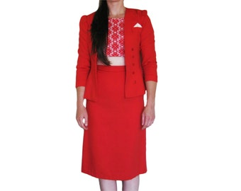 1940's Red Skirt Suit, Peplum Nipped Jacket, Pencil Wiggle Skirt, Hourglass Set, XS, Small