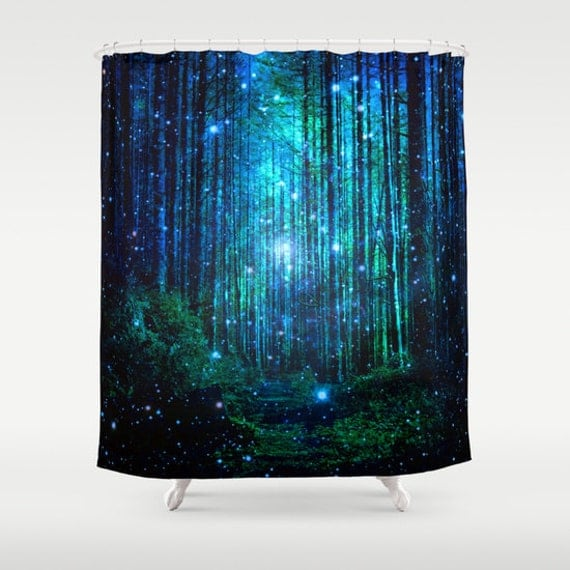 ... decor/narnia shower curtain/forest bathroom decor/green shower curtain