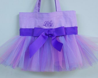 Embroidered Dance Bag Purple Tote Bag with Purple, Pink & BlueTulle and Purple Ribbon MINI TutuTote Bag - MTB789 - BP
