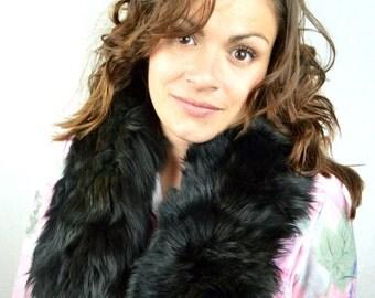 Vintage 50s 60s Black Mink Fur Collar Stole Pelt