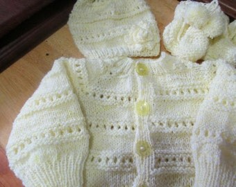 Custom Made Great Baby shower gift. 4 Piece Baby Girl/boy Sweater set. U chose color and size