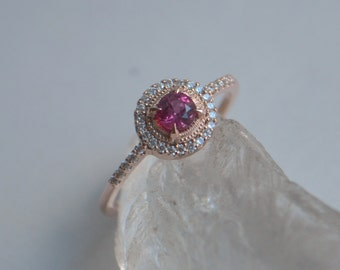 Rose Gold Halo Ring With Ceylon Sapphire and Diamonds
