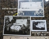 1930s Open Casket Funerals. Three Photos from an old Chicago Photo Album. Two Different Women. Postmortem