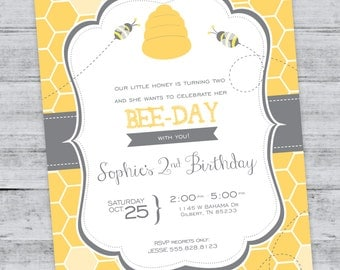 Bumble Bee Birthday Invitation, Bee Party, Insects, Summer, Teacher, Honey, Honeycomb, Buzz Birthay, Customized, Printable Digital File
