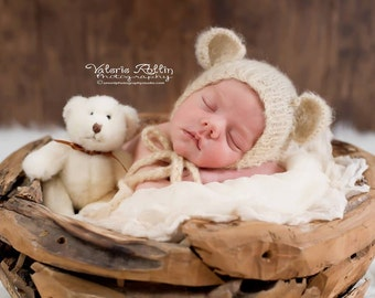 Newborn Mohair Teddy Bear Baby Bonnet. Perfect Baby bonner for Photo props or newborn take me home. Unique newborn photo prop!
