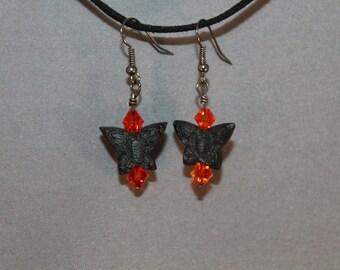 Black Cinnabar Butterfly Earrings