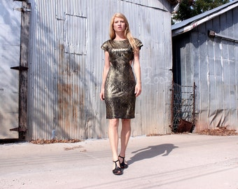 Vintage 1980s Dress Sexy Body-con Metallic Snake Print . Cut Out Sides & Back . Party Mini Skin Tight Fit . Women's M Medium