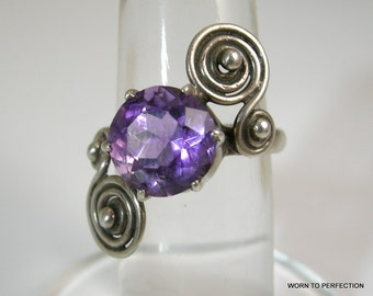 Taxco Sterling Ring with Purple Amethyst Stone
