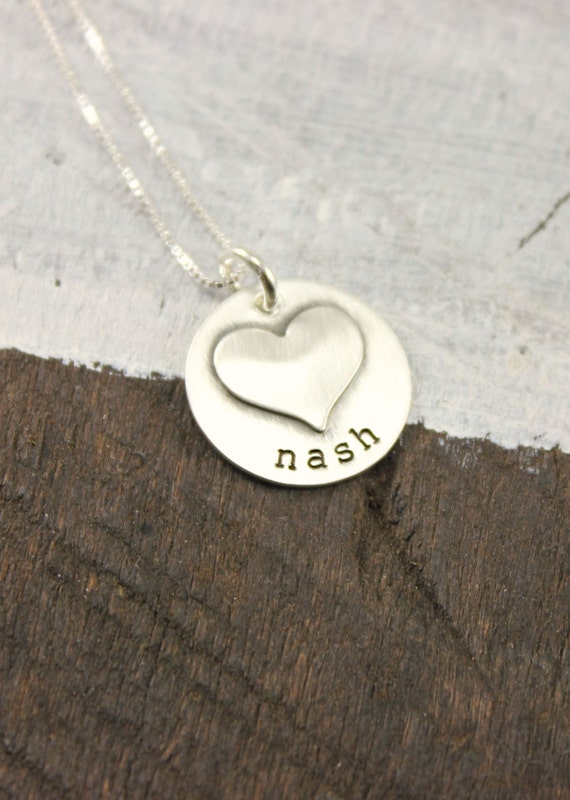 Childrens Names Heart Necklace - Sterling Silver Soldered Heart Necklace - Mom - Grandma - Mum - Mommy Jewelry - Hand Stamped - Custom