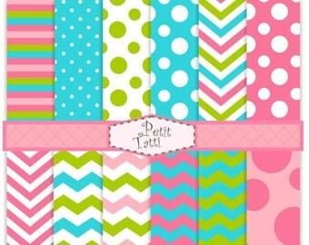 ON SALE Digital paper pack, digital backgrounds-color 08, sweet color digital paper, blue,pink, green,chevron, stripe, polka dots