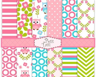 ON SALE Digital paper pack, digital backgrounds-cute Owl digital paper, blue,pink, green,chevron, stripe, polkadots