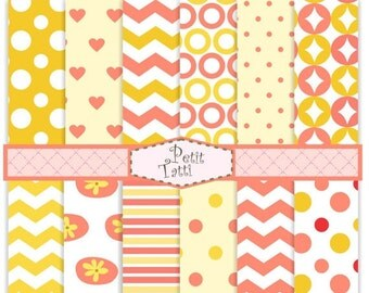 ON SALE scrapbook papers, Digital paper pack -color No.27, digital paper, pink and yellow, chevron patterns,polka dots